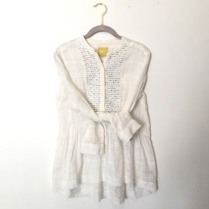Anthropologie Maeve White Blue Sparkles  Blouse